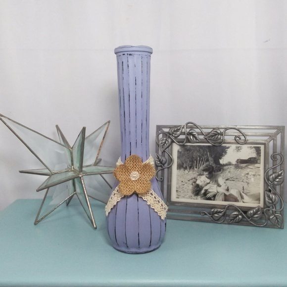 Distressed Lavender Flower Vase With Lace & Flower